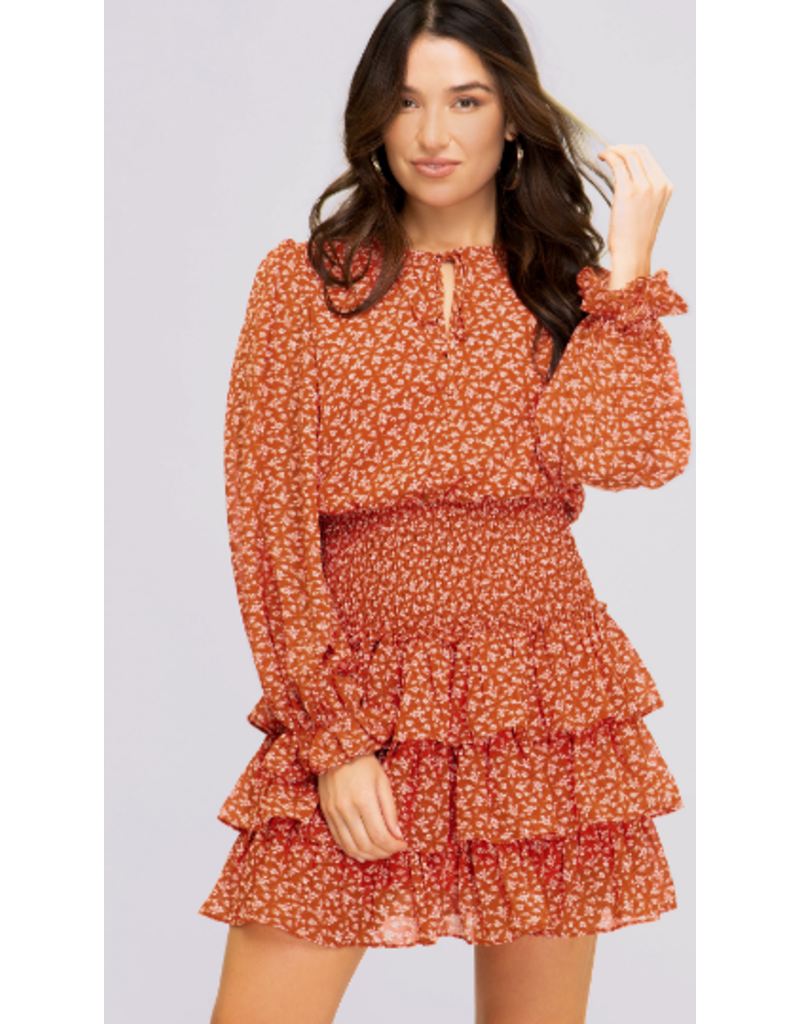 Dresses 22 Falling For It Rust Floral Smock Dress