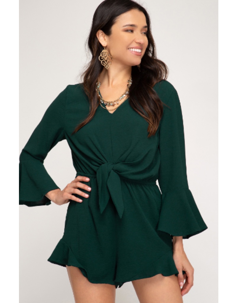 Rompers 48 Tie Front Forest Green Romper