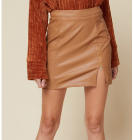 Skirts 62 Camel Leather Zip Up Skirt