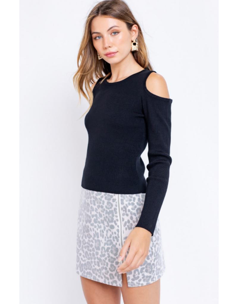 Tops 66 Open To It Black Sweater
