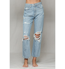 Pants 46 Hello High Waisted Boyfriend Distressed Denim