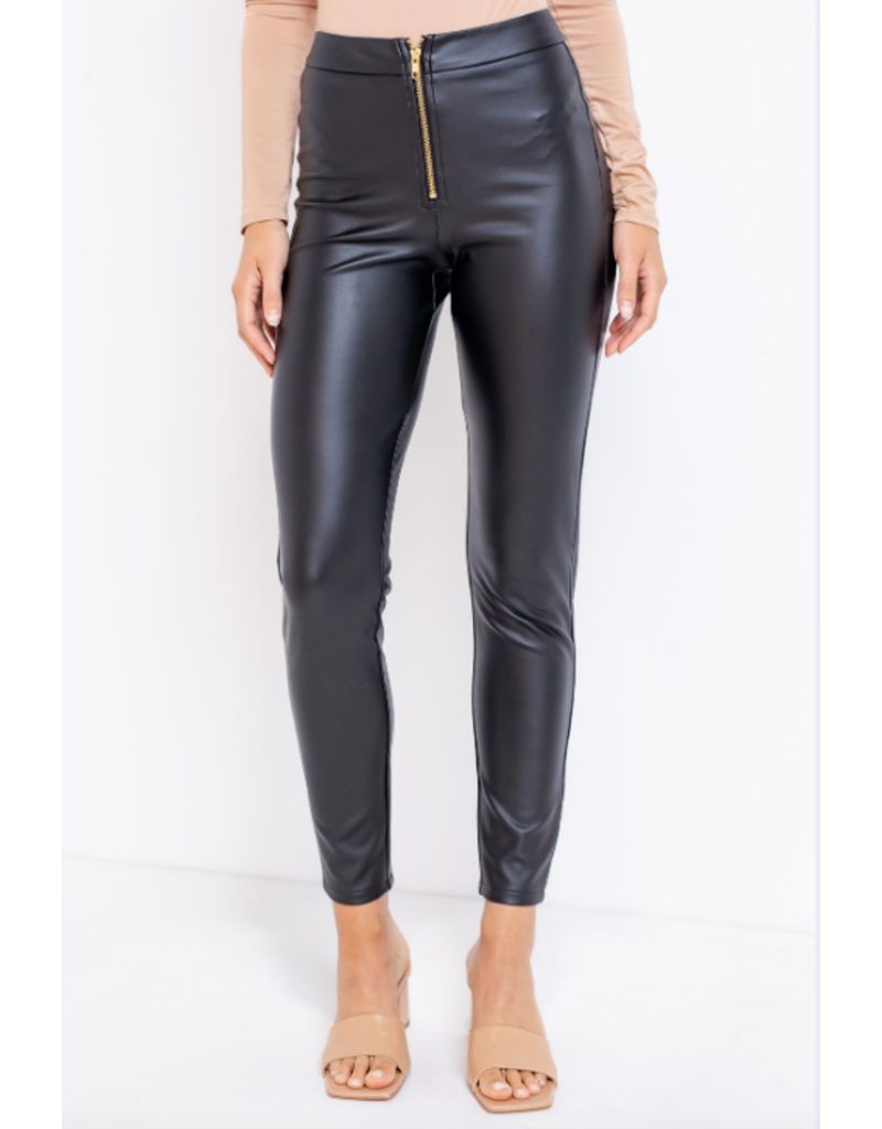 Pants 46 Zip It Black Leather Leggings