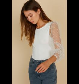 Tops 66 Sheer and Dottie White Bodysuit