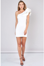 Dresses 22 Dreams Come True White One Shoulder Ruffle Dress