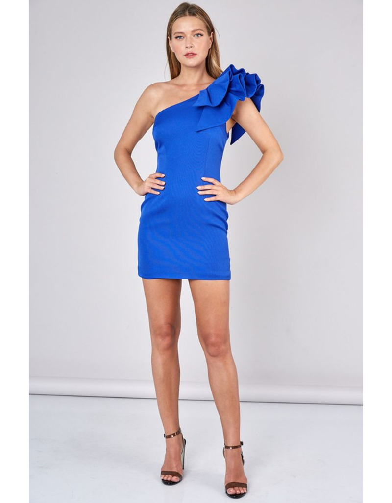Dresses 22 Dreams Come True Royal One Shoulder Ruffle Dress