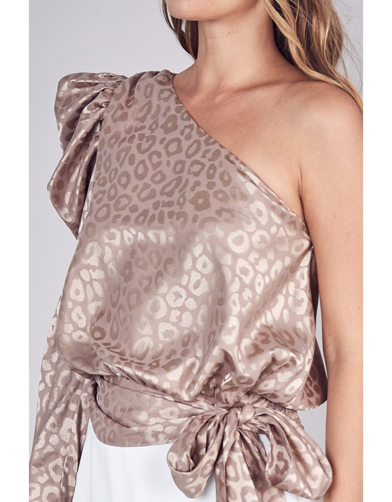 Tops 66 Taupe Leopard One Shoulder Top