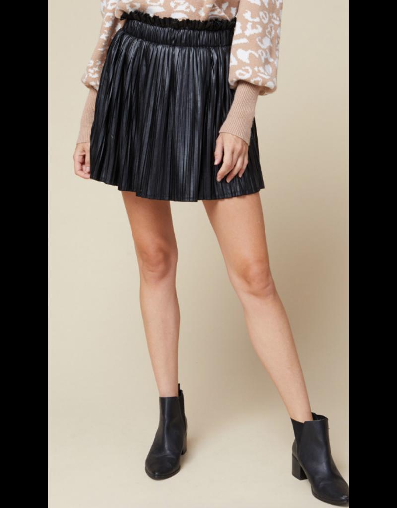 Skirts 62 Pretty Pleats Black Leather Skort