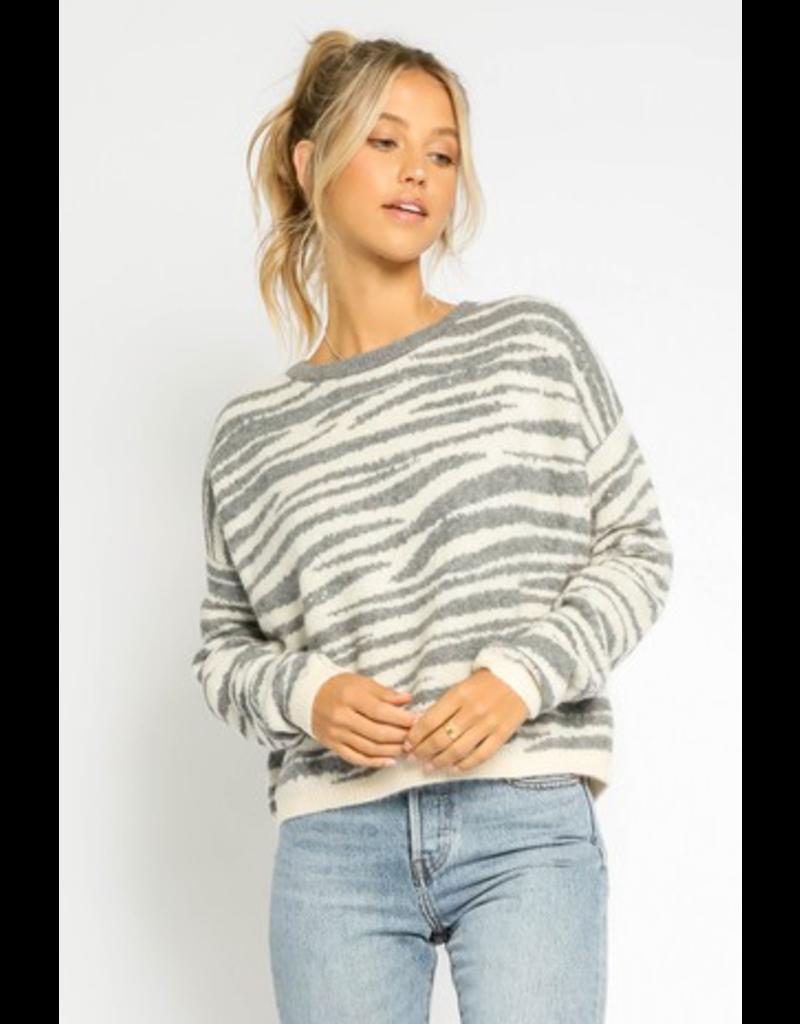 Tops 66 Fuzzy Grey Zebra Sweater