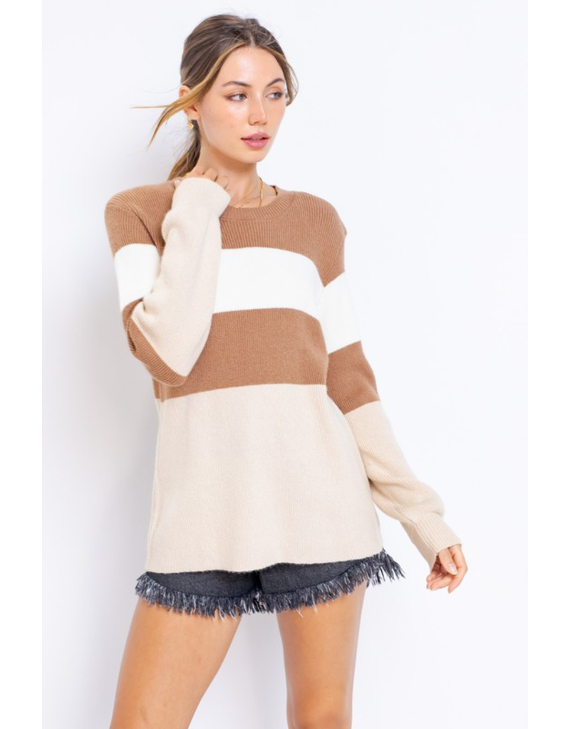 Tops 66 Caramel Latte Stripe Sweater