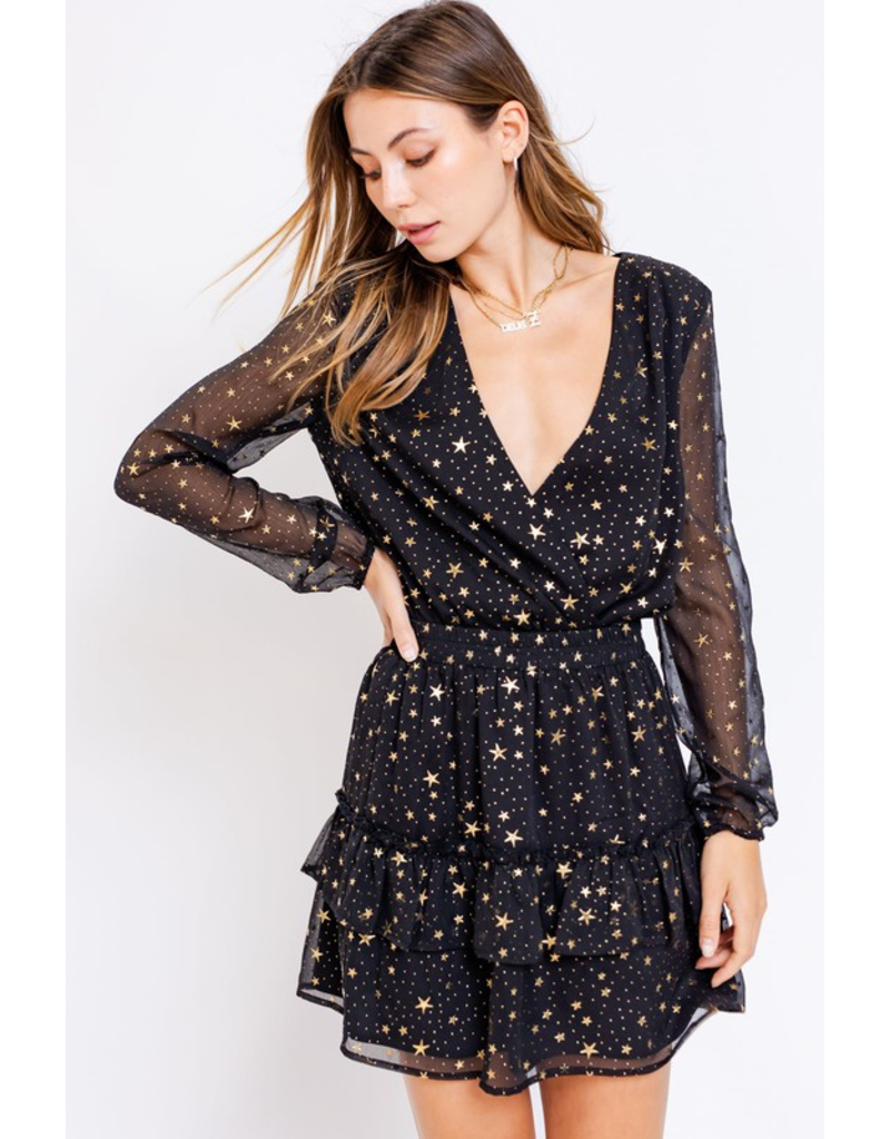 Skirts 62 Star Power Black Gold Star Ruffle Skirt