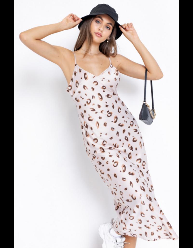 Dresses 22 Blush Leopard Satin Midi Slip Dress