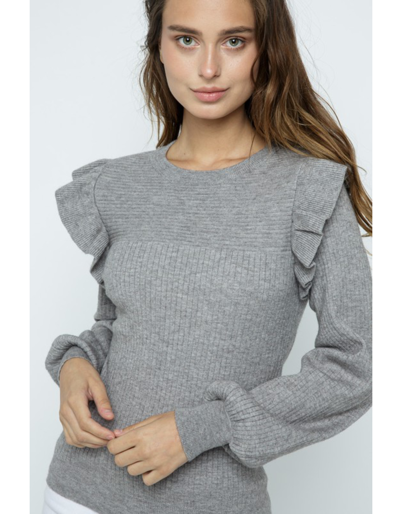 Tops 66 Ruffle Crew Sweater