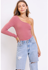 Tops 66 Dusty Mauve One Shoulder Bodysuit