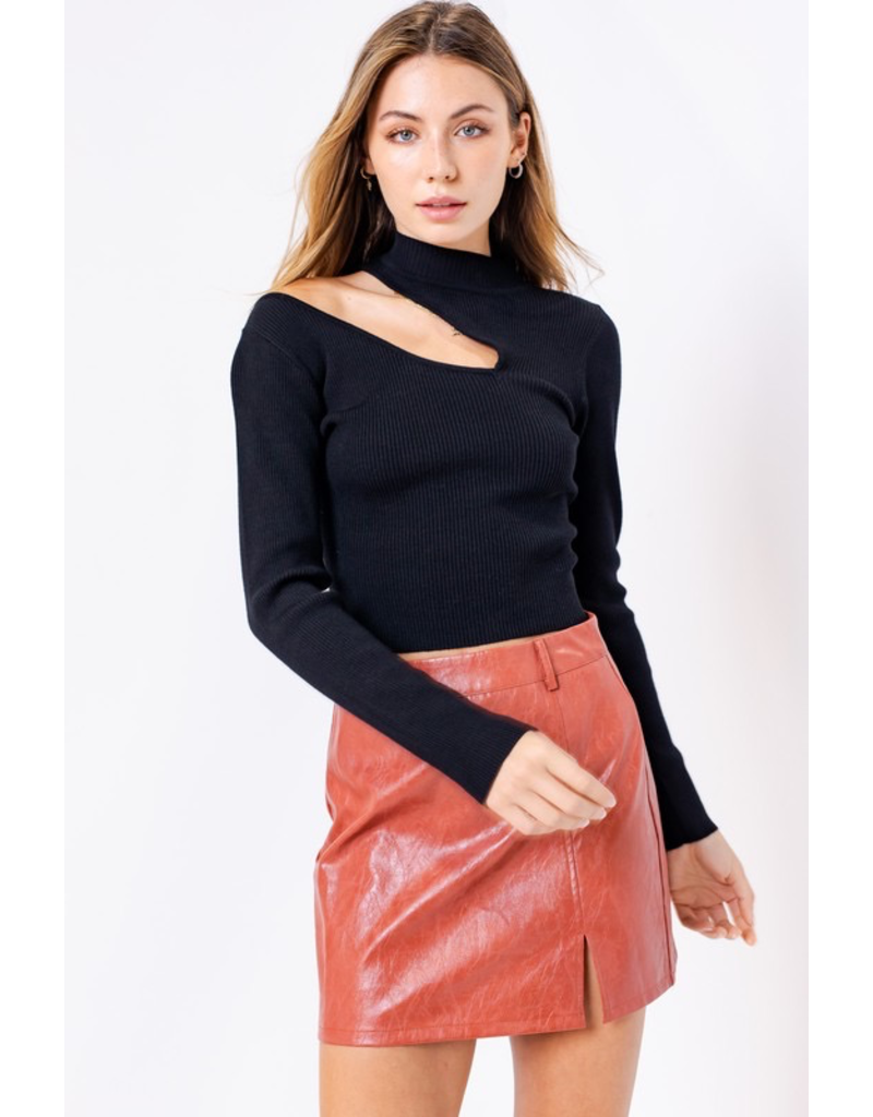 Tops 66 Black Cut Out Mock Neck Sweater