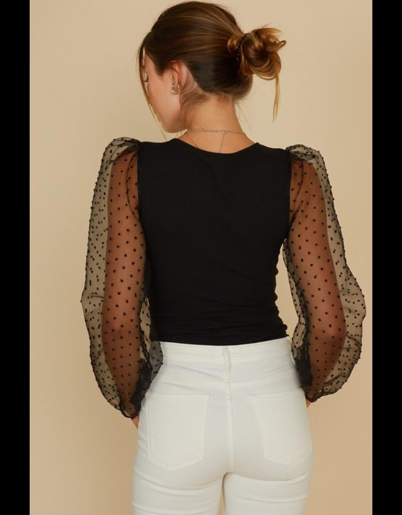 Tops 66 Sheer and Dottie Black Bodysuit
