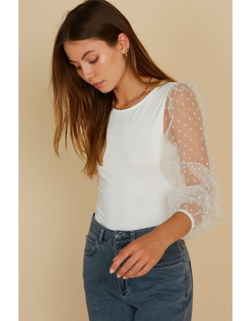 Tops 66 Sheer and Dottie White Bodysuit