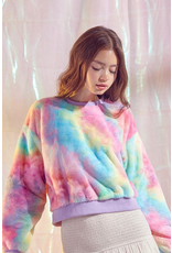 Tops 66 Rainbow Cotton Candy Fuzzy Sweater