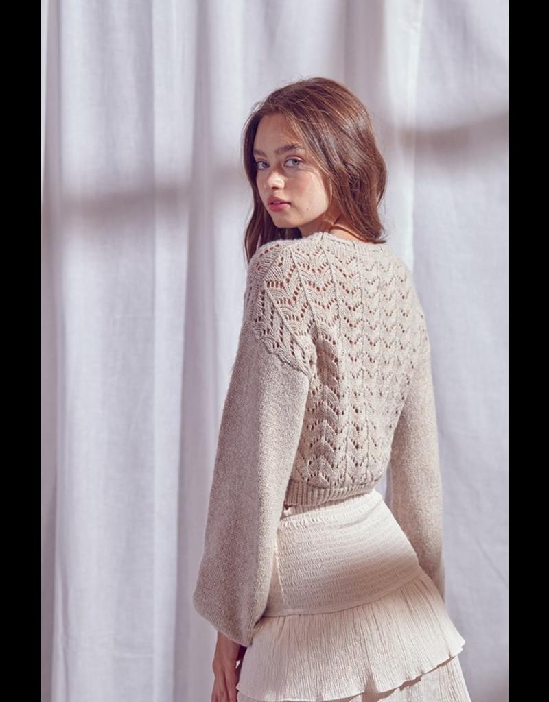 Tops 66 Taupe Pom Pom Sweater