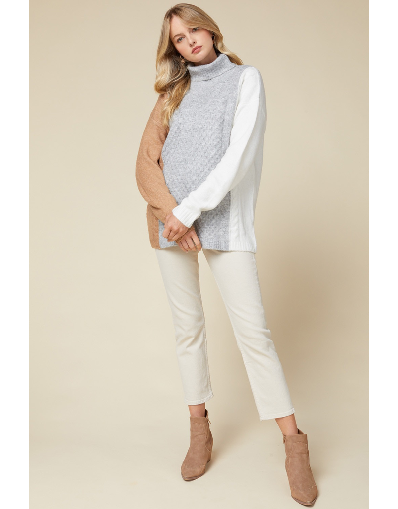 Tops 66 Fall Neutral Colorblock Turtle Neck Sweater