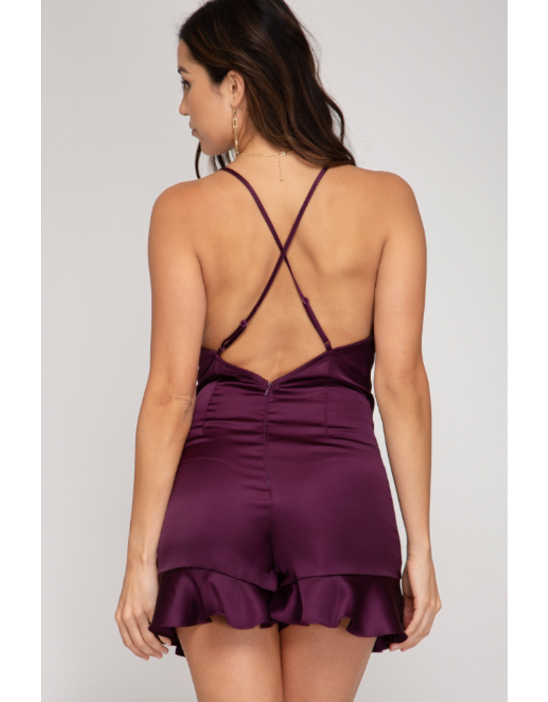 Rompers 48 Pretty Party Plum Ruffle Romper