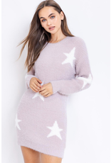 Dresses 22 Star Dust Lilac and White Star Sweater Dress