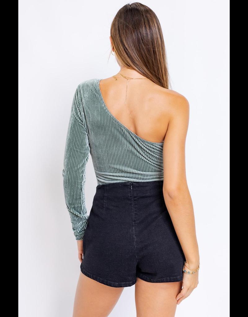Tops 66 Seasonal Sage One Shoulder Bodysuit