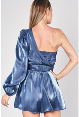 Rompers 48 Party In The Moon Light One Shoulder Blue Romper