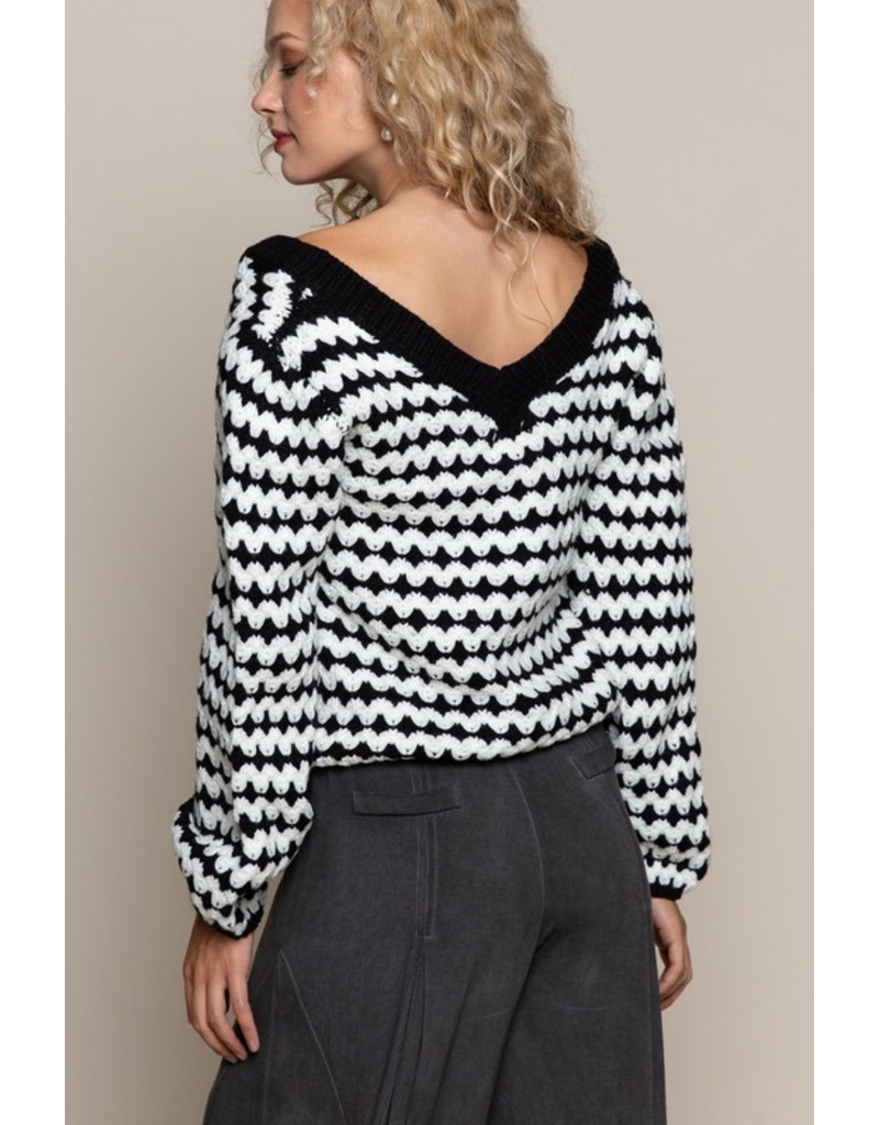Tops 66 Black and White Party Sweater