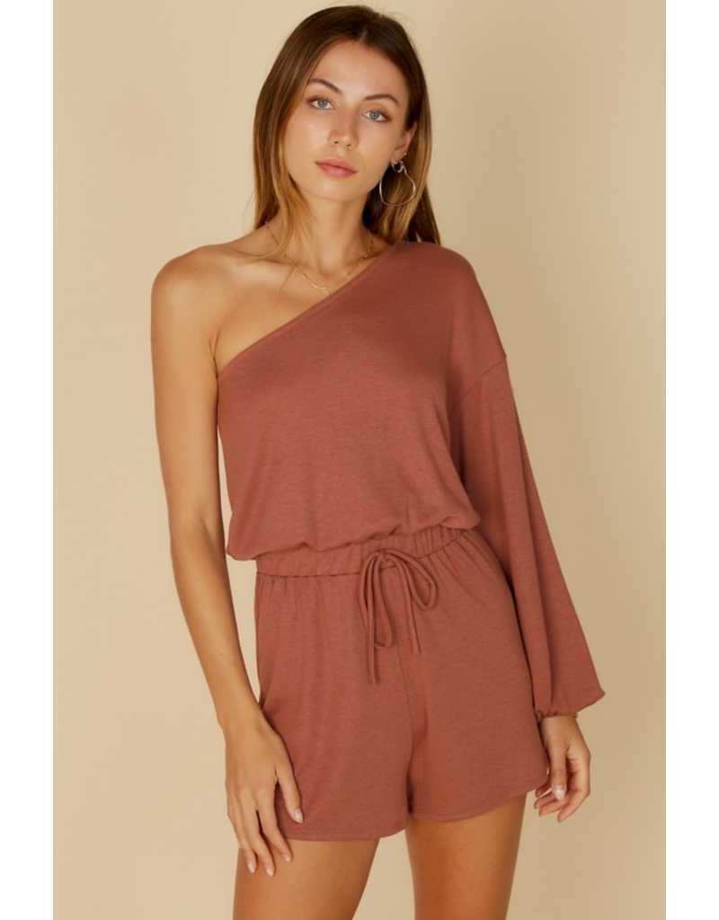 Rompers 48 Right On Rust One Shouder Romper