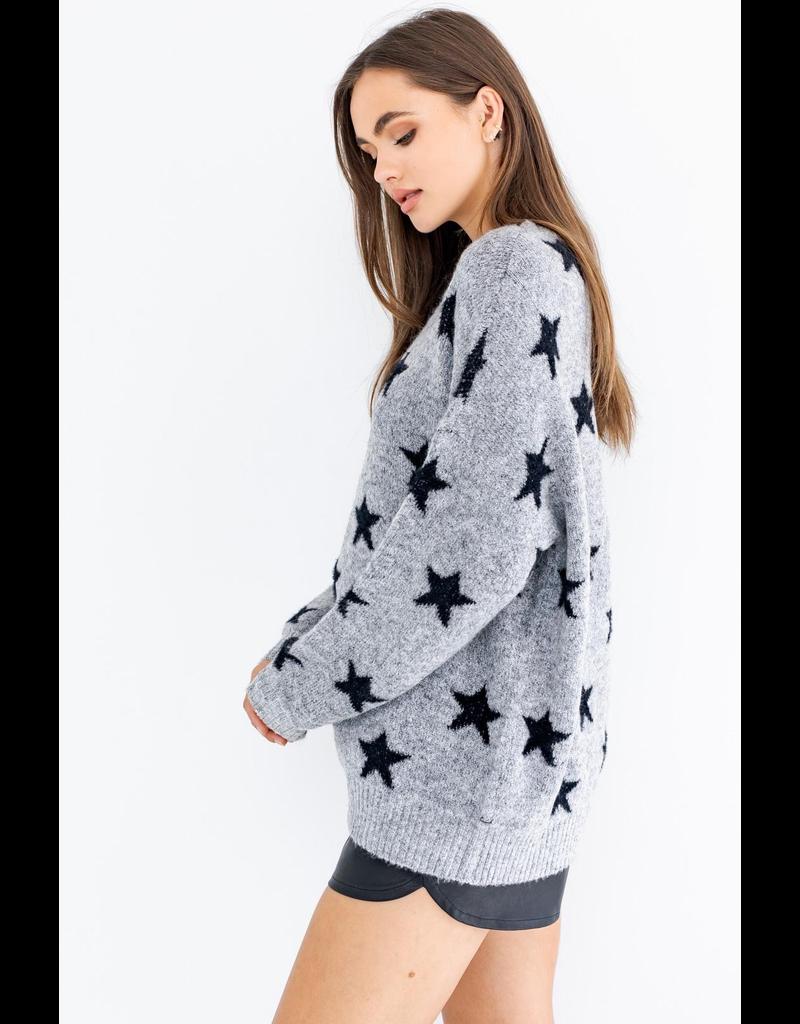 Tops 66 Star Power Grey Black Sweater