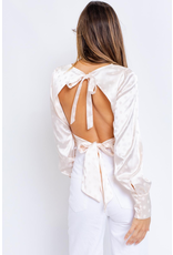 Tops 66 Party With Me Open Back Ivory Satin Top