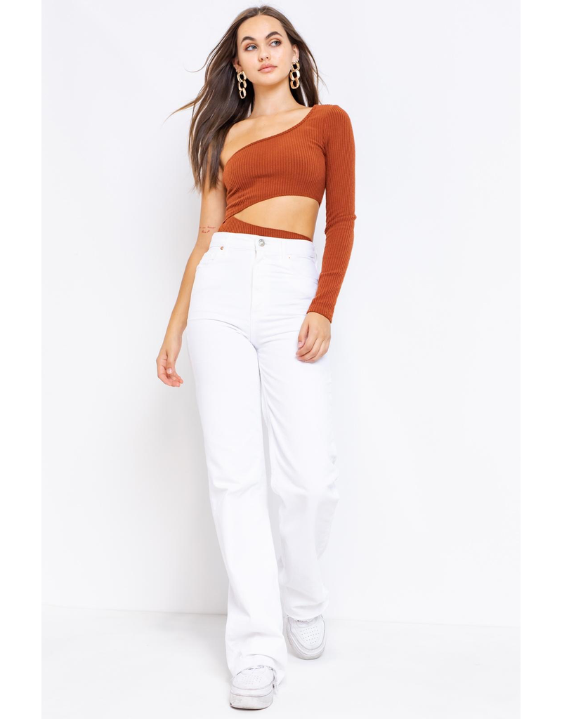 Tops 66 Fall For It One Shoulder Rust Bodysuit