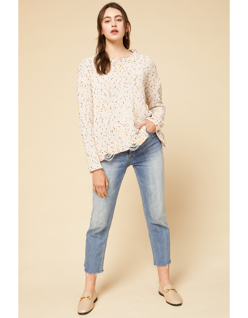 Tops 66 Ivory Confetti Party Sweater