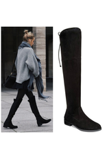 Shoes 54 Over The Knee Black Low Heel Boots