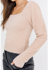 Tops 66 Soft and Fuzzy Taupe Sweater