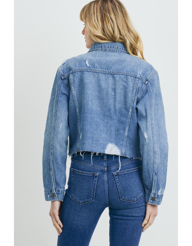 Outerwear Medium Wash Minimal Distress Denim Jacket