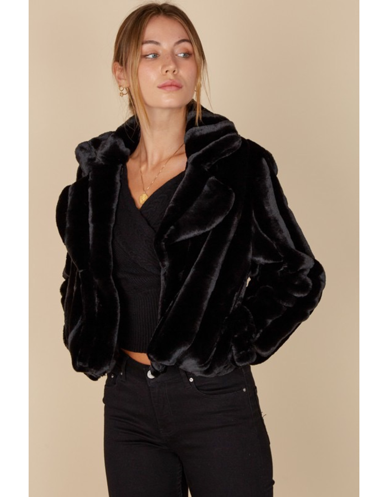 Outerwear Fuzzy Feelings Black Coat