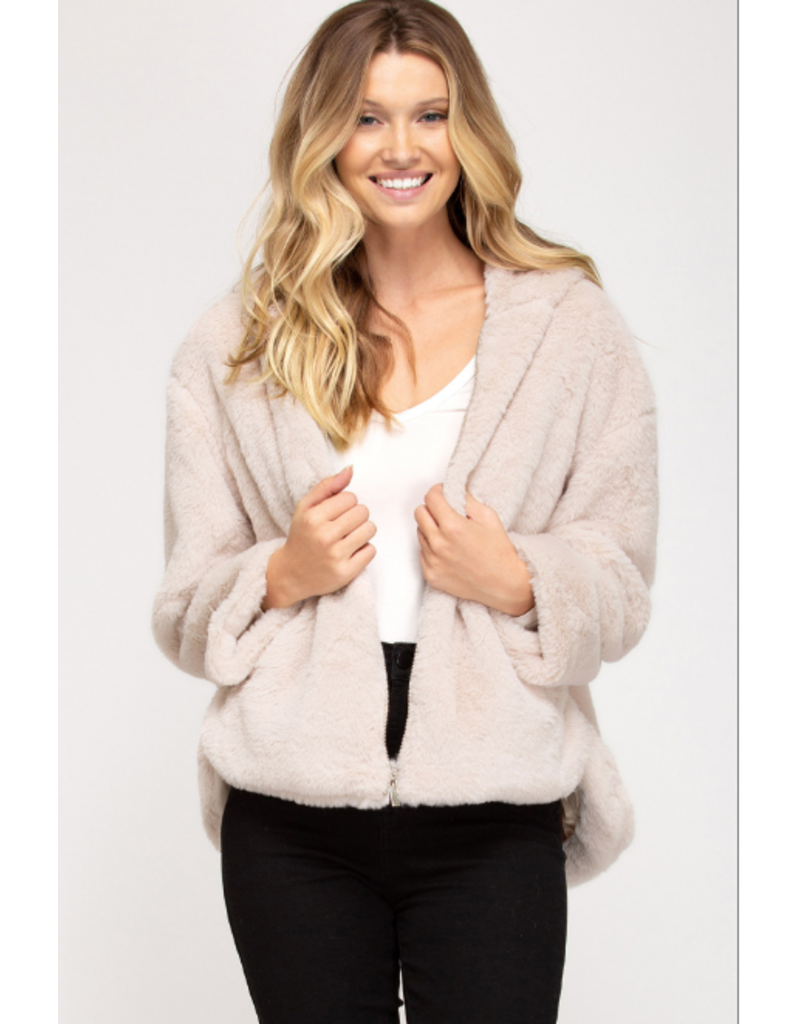 Outerwear Fuzzy Light Taupe Coat
