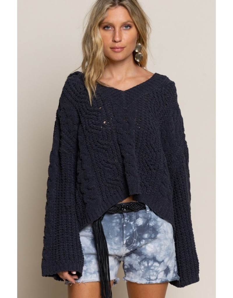 Tops 66 Creamy Charcoal Cable Knit Sweater