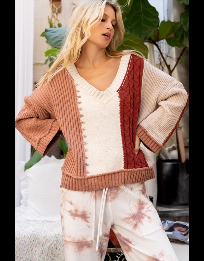 Tops 66 Fav Fall Rust Color Block Sweater