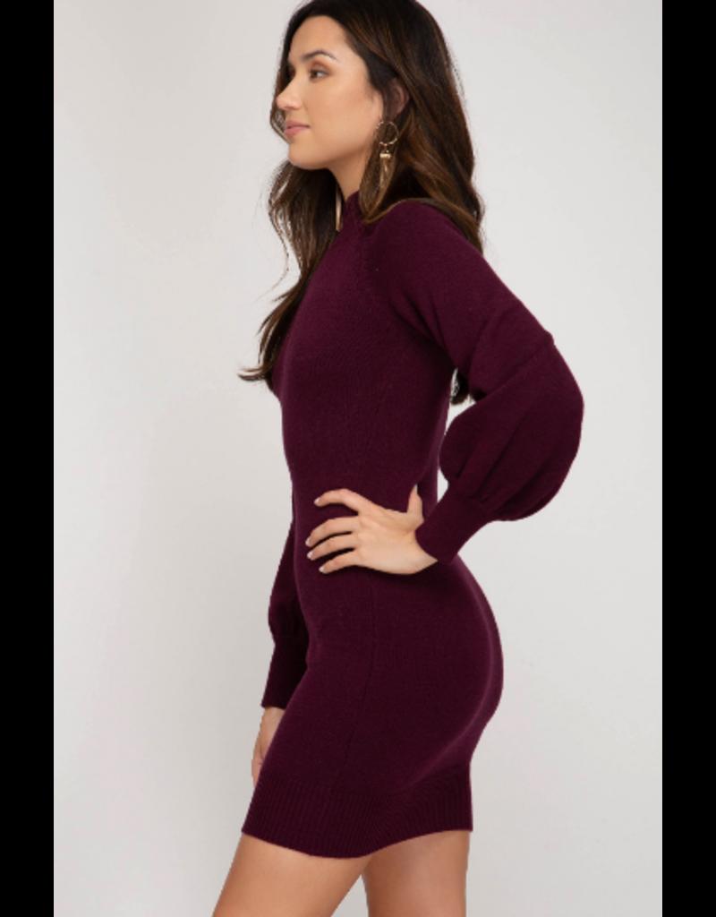 Dresses 22 Plum Perfect Balloon Sleeve Sweater Dress