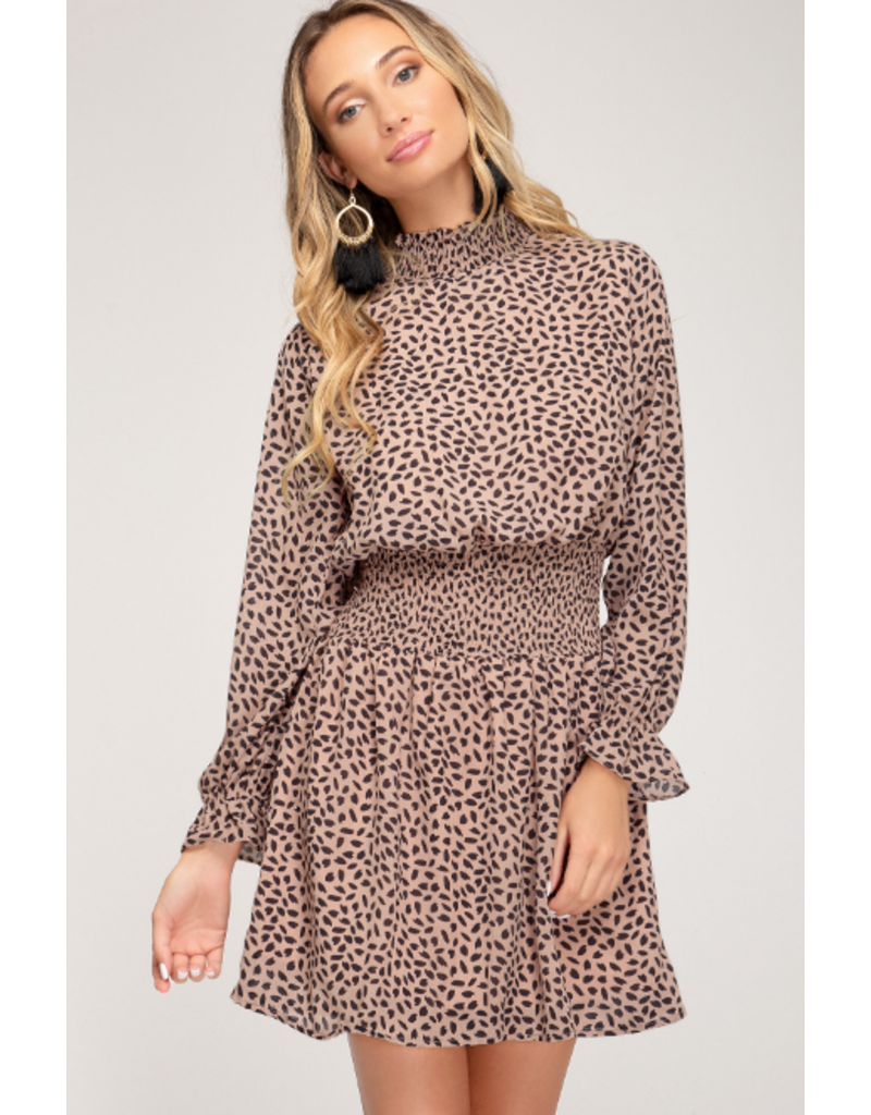 Dresses 22 You're Spotted Taupe/Black Dress