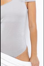 Tops 66 Silver Metallic One Shoulder Party Bodysuit