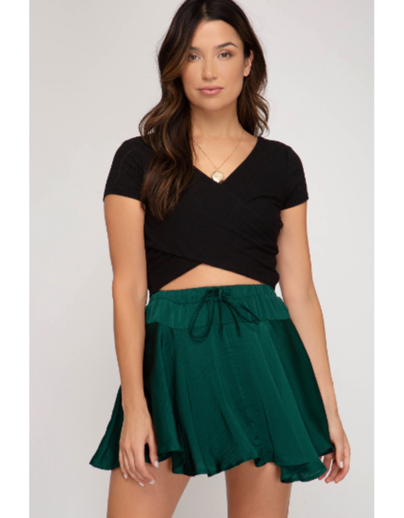 Skirts 62 Festive Satin EverGreen Party Skort