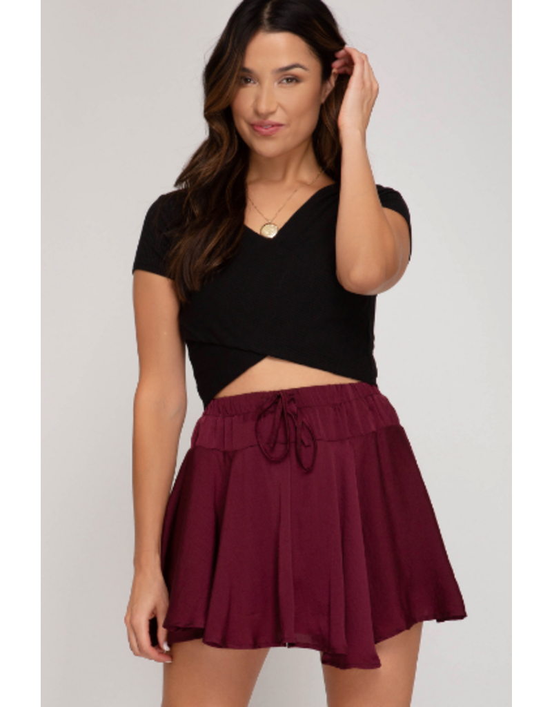 Skirts 62 Festive Satin Plum Party Skort