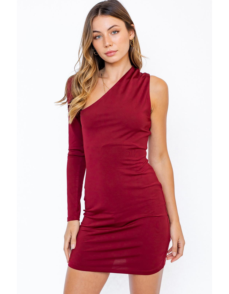 Dresses 22 Believe Red One Shoulder Dress