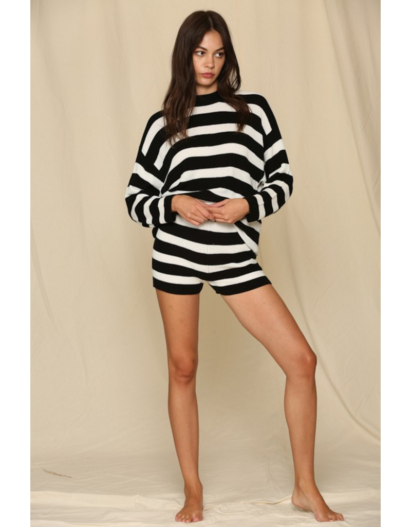 Tops 66 Stripes For The Win Black/Ivory Sweater