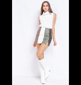 Skirts 62 Sage Color Block Leather Skirt