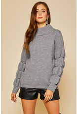 Tops 66 Winter Chill Bubble Sleeve Grey Sweater