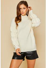 Tops 66 Winter Chill Ivory Bubble Sleeve Sweater